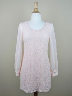 Lace Dress with Sheer Sleeve in Pale Peach - $42.00 : FashionCupcake, Designer Clothing, Accessories, and Gifts