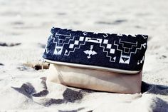 Tribal Pattern Printed  Leather Pouch Glitter No. ZP-106