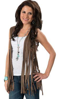 Coco Love® Women's Brown Faux Suede Fringe Vest