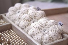 vintage lace with felt, and buttons, filled with lavender - craft inspiration