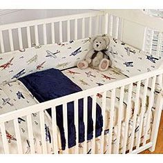 Vintage Airplanes Blue 4-piece Crib Bedding Set