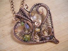 Copper Gemstone Heart Pendant Wire Wrapped in by OurFrontYard, $35.77