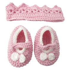 Neonato ragazze all uncinetto Crown Set accessori - Rosa 0-6 M 8bc2ffa0c982