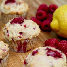 Low-Sugar, High-Protein Lemon Raspberry Muffins: Berries are finally in season!