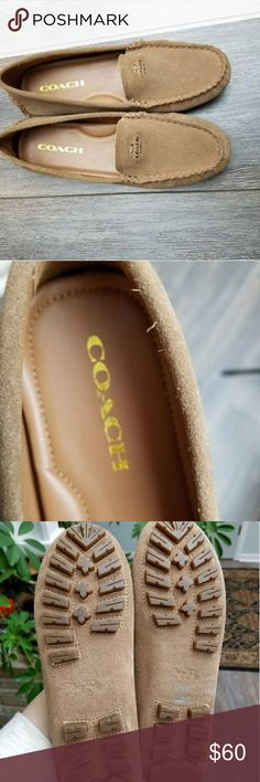 Coach suede tan loafers Brand new very cute coach suede loafers! Beautiful gold logo and sturdy bottoms! Coach Shoes Flats & Loafers