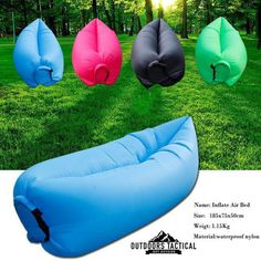 Fast Inflatable Air Sleeping Bag Camping Bed Beach Hangout Laybag Sofa Lazy Sofa #Unbranded
