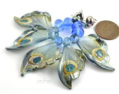 Lampwork butterfly wing beads by Kim Snider, Spring 2016