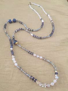 $256 Multi-Genuine Gemstone Rose Quartz, Moonstone, Citrine, Kyanite, Labradorite, Iolite Necklace with Gold Seed Beaded Jewelry