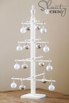 $10 DIY Wooden Ornament Tree Made with old baluster  to display special ornaments