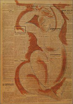 Amedeo Modigliani (It, - Caryatid on newspaper - 1914 - Matita blu e lavis d'inchiostro marrone su giornale Drawing Artist, Line Drawing, Drawing Sketches, Italian Painters, Italian Artist, Collages, Newspaper Art, Amedeo Modigliani, Beautiful Drawings