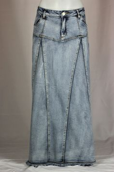 Spring Breeze Long Denim Skirt- the godets make a great place to add lace, applique, and embroidery