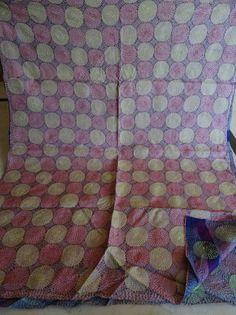 Vintage Long Reversible Handmade Neck Wrap Kantha Scarf Cotton Stole 044 #Handmade #Scarf