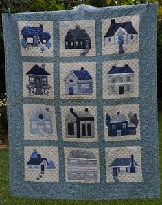 blue and white quilt Wool Quilts, Mini Quilts, House Quilt Block, Quilt Blocks, Quilt Display, Two Color Quilts, Place Mats Quilted, Quilt Block Patterns, Quilt Making