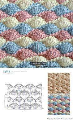 How to Make Crochet Look Like Knitting (the Waistcoat Stitch) Crochet Shell Stitch, Crochet Motifs, Crochet Diagram, Crochet Stitches Patterns, Crochet Chart, Crochet Designs, Free Crochet, Knitting Patterns, Crochet Ripple