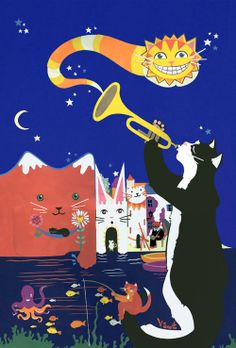 #Cats of #Cadaques! #jazz #vickyscott http://www.notonthehighstreet.com/vickysworld/product/cats-of-cadaques-limited-edition-print