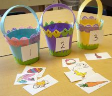 Such great activities for tots, preschool, and older.  This one is about syllables and you put the picture in the basket with the syllable number.