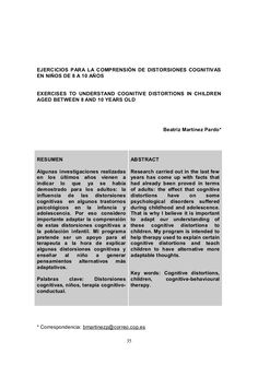 Ejercicios comprensión de distorsiones cognitivas niños 8 10