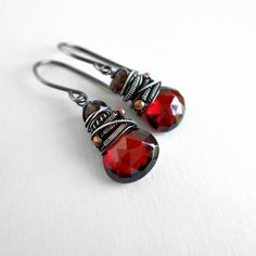Red Brown Earrings Gemstone Drop Fall Autumn Oxidized by Kande, $56.00