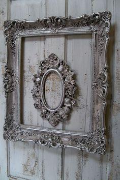 French farmhouse white putty gray frame set accented with silver wall decor Anita Spero. $180.00, via Etsy.