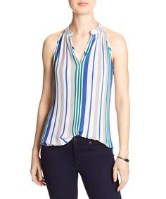 Blue & Beige Stripe Crinkle Halter Top