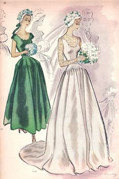 sewing vintage McCalls it's definitely not exact, but this does remind me of my Gram's dress - McCall ca. (Note: green dress is McCall Featured in McCall Pattern Book, Spring 1948 Wedding Dress Patterns, Vintage Dress Patterns, Vintage 1950s Dresses, Vestidos Vintage, Vintage Outfits, Wedding Dresses, Skirt Patterns, Coat Patterns, Blouse Patterns