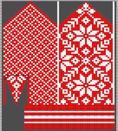 Diagram inspired by Selbuvotter by Clara Falk Knitted Mittens Pattern, Fair Isle Knitting Patterns, Crochet Mittens, Knitting Charts, Knitting Stitches, Hand Knitting, Xmas Stockings, Cross Stitch Bird, How To Purl Knit