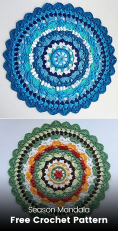 Season Mandala Free Crochet Pattern You are in the right place about Crochet videos Here we offer you the most beautiful. Crochet Diy, Crochet Quilt, Thread Crochet, Crochet Crafts, Crochet Projects, Diy Crafts, Free Mandala Crochet Patterns, Crochet Mandala Pattern, Crochet Flower Patterns
