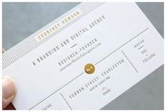 Stitch Design Co. new branding – letterpress bus. cards w/gold foil and green edges.