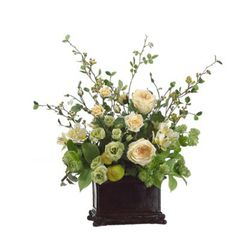 Green Cream Silk Flower Arrangment with Roses, Hops and Alstrome ARWF2735