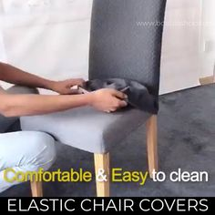 Dinning Room Chair Covers, Dining Chair Slipcovers, Wooden Dining Table Designs, Wooden Dining Tables, Makeup Drawer Organization, Work From Home Business, Diy Chair, Useful Life Hacks, Diy Home Crafts
