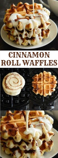 Cinnamon Roll Waffles with Maple Cream Cheese Syrup white christmas,breakfast and brunch Think Food, Love Food, Breakfast Dishes, Breakfast Recipes, Breakfast Waffles, Good Breakfast Ideas, Cake Waffles, Waffle Cake, Breakfast Casserole