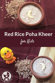 Enjoy a healthy dessert that can also be made in a very short time, and with organic ingredients - Red Rice Poha Kheer for Kids! Dessert Recipes For Kids, Healthy Dessert Recipes, Baby Food Recipes, Indian Food Recipes, Desserts, Delicious Recipes, Easy Recipes, Vegetarian Recipes, Toddler Meals