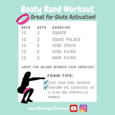 Here is an awesome booty band and glute activation workout! For each exercise, I typically do 12 rep Gym Warm Up, Workout Warm Up, Easy Workouts, At Home Workouts, Butt Workouts, Fitness Exercises, Loop Band Exercises, Glute Activation Exercises, Gluteal Muscles