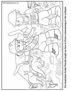 Australian Girl Guide Coloring Page.  Just print and color! Lots more of Girl Scout Crafts at MakingFriends.com