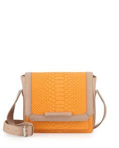 V2E8S Danielle Nicole Tarah Snake-Embossed Crossbody Bag, Orange