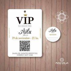 Invitaciones 15 Años Tarjetas Credenciales Vip Plastificada - $ 19,00 en Mercado Libre