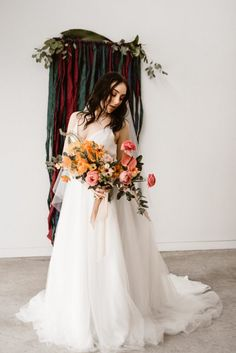 This Southwestern wedding inspiration features a bright, summery color palette, gorgeous bridal style with a touch of glam, and bohemian-inspired details. Wedding Dress Sleeves, Elegant Wedding Dress, Cheap Wedding Dress, Floral Wedding, Wedding Dresses, Orange Wedding, Try Not To Smile, Southwestern Wedding, Wedding Flower Arrangements