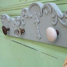 "upcycled furniture | Upcycled Furniture Coat Rack With Vintage Glass Door Knobs 7.5""H x 41 ..."