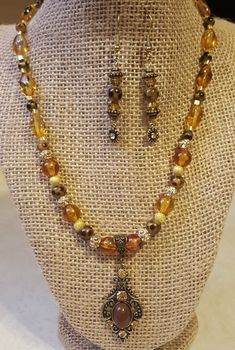Beaded Necklace and Earring Set, Beaded Jewelry, Necklace, Earrings, Antique-Style Jewelry by WEEDsByRose on Etsy