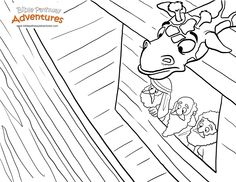 A coloring page for kids from the story, The  The Great Flood! A year on the Ark... (Noah's Ark)