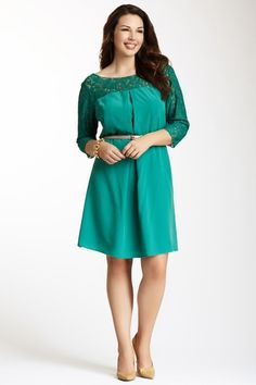 Jessica Simpson Belted Lace Combo Dress by Jessica Simpson on @HauteLook