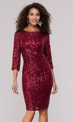Sequin Ruby Red Holiday Party Dress with Sleeves Closure Back Zipper Details Sequins, Three-Quarter Sleeves Fabric Self: Nylon, Mesh Net, Sequins Lining: Polyester, Jersey Fit The model is Length Dress Hollow to Hem Neckline Scoop Xmas Party Outfits, Holiday Party Dresses, Sequin Party Dress, Party Dresses With Sleeves, Next Dresses, Red Midi Dress, Tube Dress, Popular Dresses, Elegant Dresses