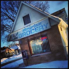 Open #grocery #shop #snow #streets #pegtecture #winnipeg #signage #graphics