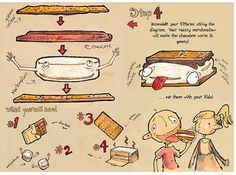 Illustrated How to Guide for Camping Kids Smores by hmacdo