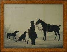 Antique Conversation Silhouette of Pennsylvanian Adam Reigart, his Hunting Dogs, and Horse