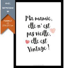 Affiche imprimée - grand mère - format a4 - 21 x 29,7 cm