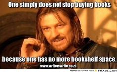 One does not simply stop buying books because you have no more bookshelf space...it just means you have to buy another bookcase.