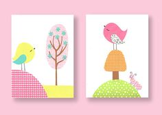 Nursery Art Bird Print Girls Room Lolli by SweetPeaNurseryArt, $28.00