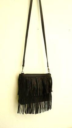 Black Leather Fringe Bag