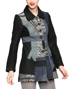 Black & Blue Patch Wool-Blend Jacket | Daily deals for moms, babies and kids